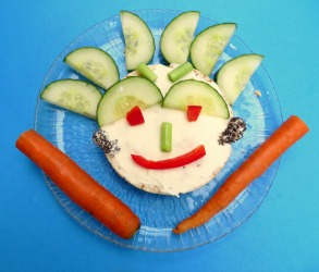 Happy clown face of snack without nuts